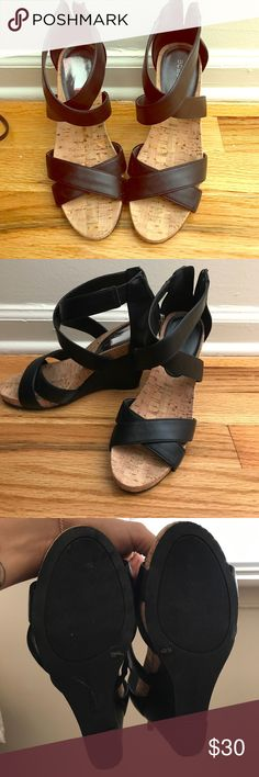 BCBGeneration Black Cork Wedges Adorable & super comfortable! Barely worn, in EUC. BCBGeneration Shoes