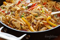 Light Cajun Chicken Pasta - made with bell peppers, onions, and garlic seasoned with cajun spices in a cream cheese sauce.  Yum!