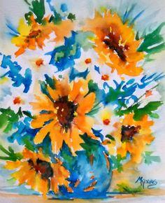 Sunflowers and Daisies. Martha Kisling Fine Art