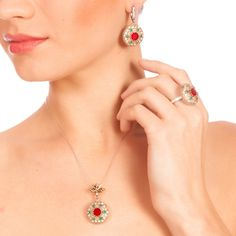 The Zerbap Bia Jewelry Set with Zircon Emerald Ruby by Rosestyle, $113.00