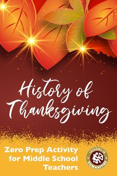 History of Thanksgiving | Fun Activity for Middle School Students | For the Busy Teacher