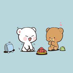 Cubs Wallpaper, Kawaii Wallpaper, Cute Couple Cartoon, Cute Love Cartoons, Cute Love Gif, Cute Love Memes, Hamsters, Cute Bear Drawings, Bear Gif