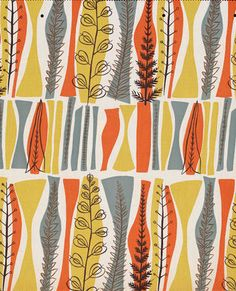 Fabric pattern by Mary White (b.1926), 1954, Coppice, designed for Heals.                                                                                                                                                     More Textile Prints, Textile Patterns, Textile Design, Fabric Design, Print Design, Pattern Fabric, Graphic Patterns, Print Patterns, Leaf Patterns