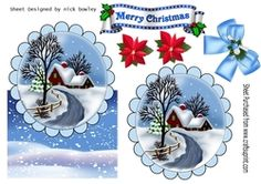 Lovely snow scene with cottage  and bow over the edge on Craftsuprint - View Now!