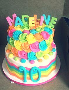 Colorful chevron, rosette birthday cake