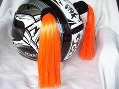 Orange Helmet Pigtails ~ Motorcycle Skateboarding ATV Biking ~ Pig Tail Ponytail in eBay Motors, Parts & Accessories, Apparel & Merchandise   eBay