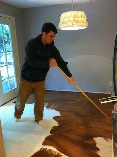 Roost Reimagined: DIY plywood flooring...cheap alternative to hardwood flooring.