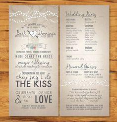 Long, skinny wedding programs with non-tradition ceremony description.