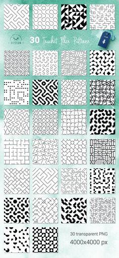 Truchet Tiles - Geometric Patterns by WBS Design on @creativemarket