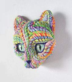 Cosmic Cat Mask Wall Sculpture by JanePriserArts on Etsy, $42.00