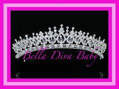 Tiara wedding Swarovski Crystal crown Flower girl  Photo Prop -silver metal crystal bridal- pageant-flower girl sparkling crystal tiara