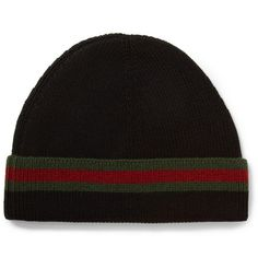13ae61cb706 Gucci Striped Wool and Silk-Blend Beanie Hat