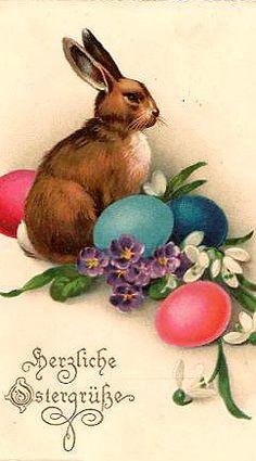 Lovely German vintage Easter postcard...                                                                                                                                                                                 More