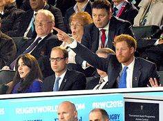 Kate Middleton, Prince William, Duke of Cambridge and Prince Harry attend the Rugby World Cup 2016 match between England v Fiji at Twickenham Stadium on September 18, 2015 in London, England.
