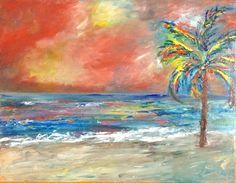 """Oil on 18"""" x 14"""" canvas.  Beach storm.  By Martha Stevenson."""
