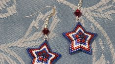 Red White and Blue Star Peyote Earrings