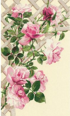 Pink Roses On Lattice - Cross Stitch Kit