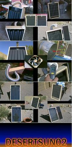 My 5 DIY Solar Air Heaters. Compilation vid. of the Solar Air Heaters i've made. the 5 types are: Steel Down-Spout solar heater, Steel Can solar heater, Aluminum Can solar heater, Screen Absorber solar heater and a channel/baffle solar heater. youtube desertsun02
