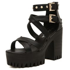 USD18.49Fashion Chunky High Heel Cross Strap  Black PU Sandals