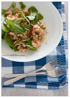 Tuna & White Bean Salad  (4 ingredient recipe)  (may substitute salmon if it is reasonable at grocery store; adding leftover sautéed bell peppers for some warmth)