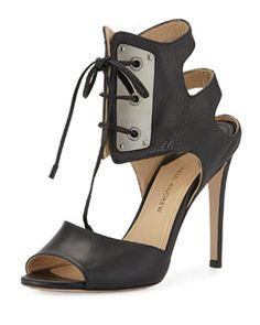 Paul Andrew Laguardia Leather Lace-Front Sandal, Black Fall 2015