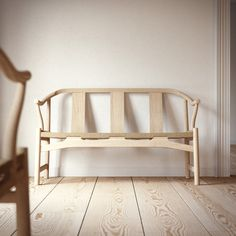 Detailed model of Hans Wegner PP266 bench, or 'Chinese bench', designed in the 1940s for PP Moebler