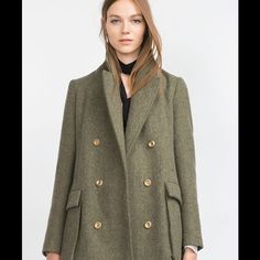 ZARA WOOL Coat!!! NEW Double breasted with gold buttons Zara Jackets & Coats