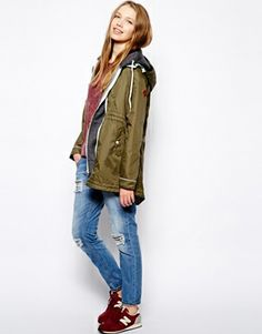 Parka Jacket with tropical lining.