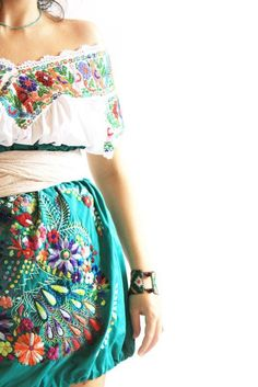 Wear it while sipping a mojito this summer?  Peacock Mexican vintage embroidered bubble skirt by AidaCoronado