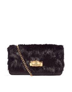 Aldo Crema Faux Fur Foldover Clutch Bag in Black | Lyst