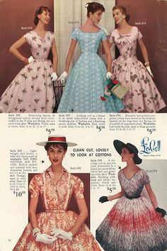 1950s fashion catalog. The catalogs used to have a lot of flowery language about how beautiful the wearer would look and how the opposite sex would be attracted   Ended with some truth in advertising and the blurbs just described the product, materials and care required.