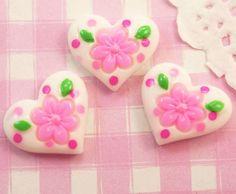 Cute Flower Patterned Hearts #Cabochons #Decoden #Kawaii Kitsch. #DIY #Craft