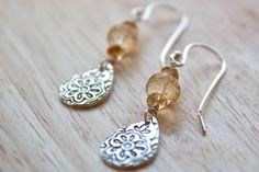 Mehndi Silver Earrings