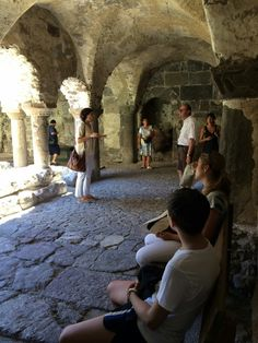 Our Sonia describing the Norman Cloister inside the cathedral of Lipari