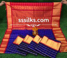 Indian Handloom Sarees and Silks Kuppadam Pattu Sarees, Handloom Saree, Pure Silk Sarees, Weaving, Organic, Indian, Pure Products, Loom Weaving, Crocheting