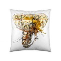Obliečka na vankúš Hlava slona 45x45cm     #vankuse#dremandfun#obyvacka#detskaizba#spalna Elephant Pillow, Elephant Head, Throw Pillows, Bed, Decorations, Summer, Toss Pillows, Summer Time, Cushions