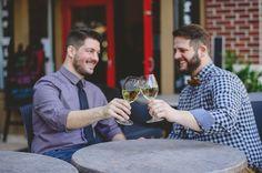 same sex engagement photos at wine bar in Tampa