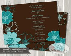 Aqua and Chocolate Brown Floral Invitation Teal by ShySocialites