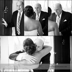 Father seeing bride for the first time   first look between bride and dad