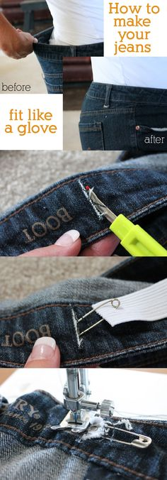 to Take in the Waist on a Pair of Blue Jeans How to Make Your Jeans Fit Like a Glove! Sewing Trick Everyone Needs! sewing ideasHow to Make Your Jeans Fit Like a Glove! Sewing Trick Everyone Needs! Sewing Hacks, Sewing Tutorials, Sewing Patterns, Sewing Tips, Sewing Crafts, Sewing Basics, Crochet Patterns, Knitting Patterns, Sewing Lessons