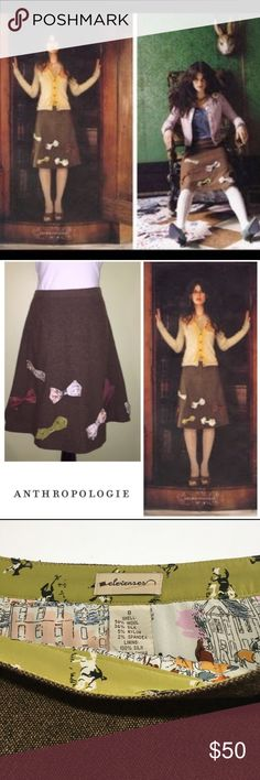 """RARE Anthropologie Elevenses Wonderland Skirt Vibrant bows in a variety of fabrics are hand-stitched to menswear tweed. Flattering A-Line silhouette and topped with pintucks.  Fully lined in a beautiful silk fox hunt pattern.  Side Zip.  Wool, Nylon, Silk, Spandex.  Dry  Clean.  Waist 15.5"""" Length 22.5""""  Beautiful Condition! Anthropologie Skirts A-Line or Full"""
