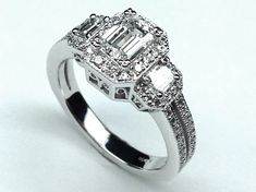 Three Stone Emerald Cut Halo Vintage Engagement Ring in 14K White Gold