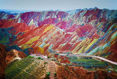 With its rolling hills, rocky peaks and multitude of colours, this otherworldly site looks like no place on Earth. The spectacular lunar landscape can be found at the Zhangye Danxia Landform Geological Park in Gansu Province, China. Like one giant red, orange and yellow-hued paint spattered artwork, the park offers breathtaking views that blaze with colour.