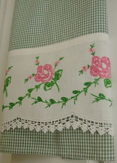 Recycled and Repourposed Vintage Pillowcase to Upcycled Tea Towel - Heritage Rose - Homespun Home Decor