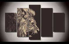 Own this amazing roaring lion wall canvas today we will ship the canvas for free. This is the perfect centerpiece for your home. It is easy to assemble and hang the panels together which makes this a great gift for your loved ones.  This painting is printed not handpainted and is ready to hang! We have 1 options for this canvas -- Size 1: (20x35cmx2pcs, 20x45cmx2pcs, 20x55cmx1pc) Limited quantities left. www.octotreasures.com