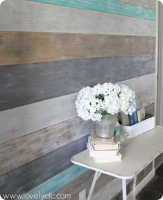DIY plank wall at Lovely etc.