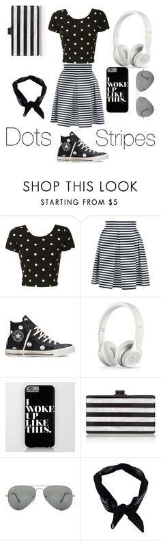 """""""Dots and stripes"""" by nosaj14 ❤ liked on Polyvore featuring Glamorous, Jane Norman, Converse, Edie Parker, Ray-Ban and Boohoo"""