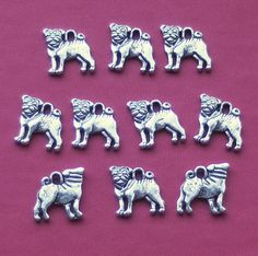 Hey, I found this really awesome Etsy listing at https://www.etsy.com/listing/122632133/pug-dog-charms-x-10-tibetan-silver-style