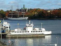 Djurgårdsfärjan, boat between Slussen and Djurgården with Hostal boat Af Chapman in the background.