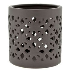 Deep grey, cutout ceramic, tea light holder Gorgeous lattice detail provides beautiful illumination Perfect in any space or event setting and especially beautiful outdoors! Would love to see this pai click now to see more. Pottery Pots, Slab Pottery, Ceramic Pottery, Pottery Place, Ceramic Lantern, Ceramic Light, Wood Planter Box, Wooden Planters, Slab Boxes